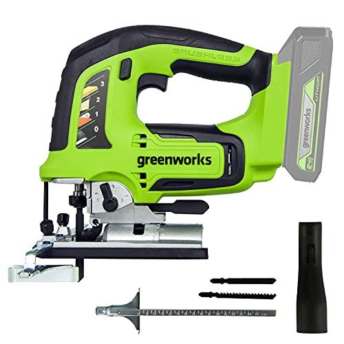Greenworks Akku-Stichsäge GD24JS (Li-Ion 24 V 25,4 mm Klingenlänge 3000 Stiche pro Minute werkzeugloser Klingenwechsel mit LED-Licht ohne Akku und Ladegerät)