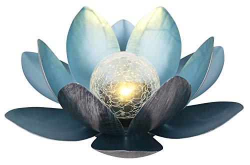 Dehner 4398715 Solarleuchte Lotus, Ø 27.5 cm, Höhe 12 cm, Metall, silber/blau