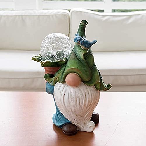 Ittba Solar Harz Figurine Gartenleuchte mit Langer bärtiger Zwergenfee Kristallkugel wasserdichte Lampe Perfekt für Garten Hof Rasen Terrasse Außendekor