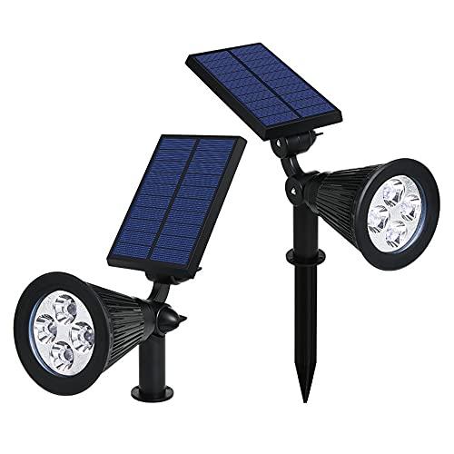 XUE-BAI Solarstrahler, 2-in-1 farbig einstellbar 4 LED Wand/Boden Landschaft Solarleuchten Wasserdichter Weg Gehweg Baumfahnenstrahler Auto EIN/Aus, 2er Pack/A/one Size