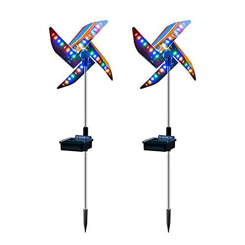 Flueyer 2 x Solarleuchten Garten Windmühle Outdoor Wegeleuchte Dekorative Gartenstecker Wasserdicht LED Landschaftsbeleuchtung Poller für Terrasse Rasen Hof und Landschaft