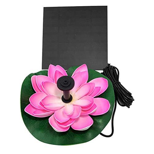Hemoton Solar Lotus Brunnen Teichpumpe Garten Springbrunnen Schwimmende Seerose Teich Solarpumpe Blumen Wasserpumpe Wasserbrunnen für Gartenteich Pool Landschaft Deko