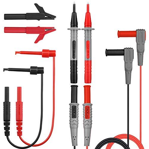 TACKLIFE METL04 Multimeter-Sonde, 8 Stück Multimeter-Kabel, Set mit Testdraht für Multimeter und Stromzange / Mini-Krokodilklemme und Mini-Haken im Lieferumfang enthalten