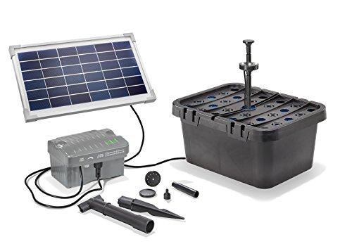 Solar Teichfilterset Starter 300 l/h Förderleistung 8 W Solarmodul + Akku 6V/3,2 Ah + LED Beleuchtung...