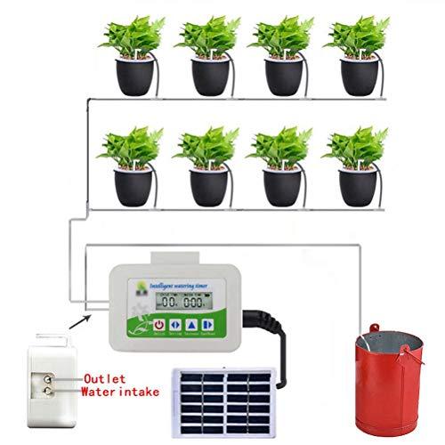Jitong Automatische Bewässerung Kit Wasserdicht Solar Automatische Bewässerungssystem Wasser Timer Blumenbewässerung Rasenbewässerung - Weiß