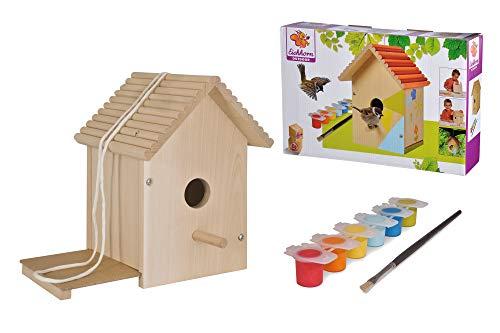 Eichhorn 100004581 Outdoor-100004581-Vogelhaus aus Holz, zum Zusammenbauen und Bemalen, inkl. Pinsel und...