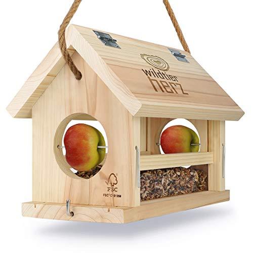 wildtier herz I Vogelfutterhaus M Handarbeit aus Natur-Holz für Gartenvögel wetterfest, naturbelassen I Vogelhaus zum Aufhängen im Garten und Balkon
