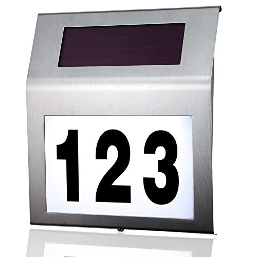 MOLVCE Edelstahl Hausnummer Solar Beleuchtete 2 LEDs Solarhausnummer mit Dämmerungsschalter IP65 Wasserdicht Außen mit Nummern 0-9 & Buchstaben A-H