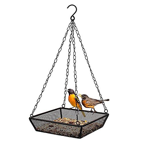 Hjinyu Vogelfutterspender zum Aufhängen Metallgeflecht Vogelfutterhaus Hängende Vogelfutterschale Wildvogel-Futterstation Vogelhaus für Wildvögel für Outdoor, Garten, 17 * 17 * 39 cm