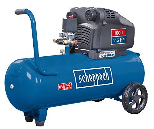 Scheppach Doppelzylinder Kompressor HC105DC |Kesselvolumen 100L |10 bar|2,5PS|322L