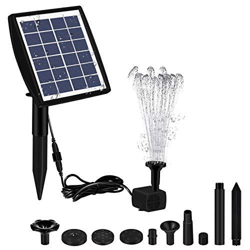 2021 Neue Solar SpringbrunnenPUME, 2W Solar Wasserpumpe mit 7 Düsen, Bürstenlose Wasserpumpe für Vogeltränken, Fischteiche, Gartenanlagen und Springbrunnen