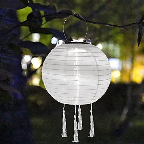 Lampions Solar Außen,Solar LED Lampion Party Garten Laterne Rund Ballform Lampenschirm IP55 Wasserdicht Hängende Garten Laterne für Hochtzeit Kirche Garten Party Dekoration (25cm, White)