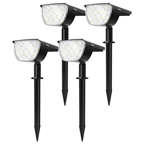 Gartenstrahler mit Erdspieß 30LED Gartenleuchte Solarlampen für Außen, IP67 Wasserdicht für Garten, Eingangstür, Rasen, Garag 4 Stücke