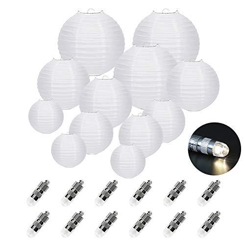 12er Papier Laterne Weiß Lampions (verschiedene Größen) mit 12er Warmweiße Mini LED-Ballons Lichter, rund Lampenschirm Hochtzeit Dekoration Papierlaterne