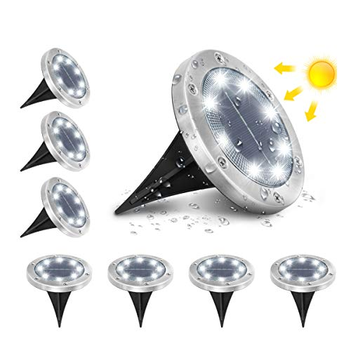 AMBOTHER A-SL-01 Solar Bodenleuchten, 8 LEDS Solarleuchten Solarlampen Gartenleuchten für Außen, 6000K...