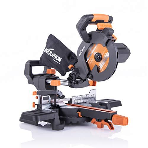 Evolution Power Tools R185SMS+ Verbundsäge mit Mehrstoffschnitt, 45 Grad Abschrägung, 50 Grad Gehrung, 210 mm Gleitschiene, 1200 W, 210 mm, 230 V