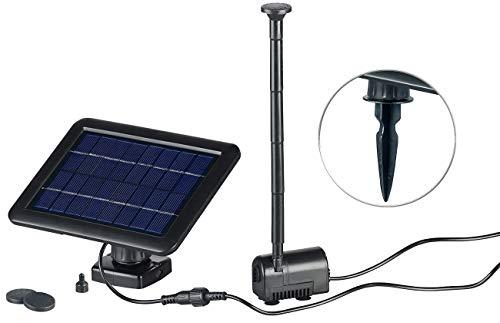 Royal Gardineer Solarpumpe: Teich- und Springbrunnen-Pumpe mit 2-Watt-Solarpanel und Akkubetrieb (Solarpumpe Brunnen)