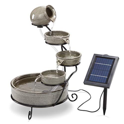 Solar Kaskadenbrunnen Firenze aus Keramik - 2 Watt Solarmodul mit Direktbetrieb - verschleißarme Pumpe -...