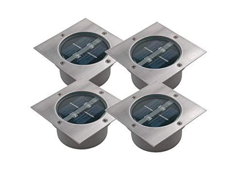 4er SET moderner Solar LED Bodeneinbaustrahler 4-eckig in Edelstahl / Glas für Außen