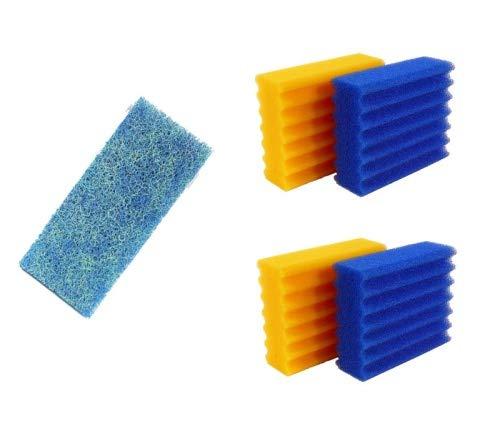 Pondlife 4 STK. Filterschwämme 2 Blaue & 2 gelbe -Plus- 1 STK. Biomatten passend für SunSun CBF