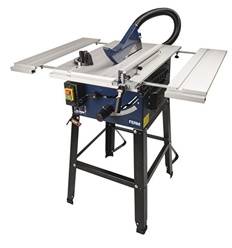 FERM Tischkreissäge 250mm - 1800 Watt - Ausziehbare Aluminium Arbeitstisch - Vakuum-Adapter - Winkelanschlag...