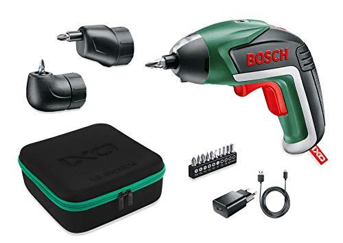 Bosch Akkuschrauber IXO Set (Winkelaufsatz und Exzenteraufsatz, 10 Bits, USB-Ladegerät, Softcase, 3,6 Volt,...