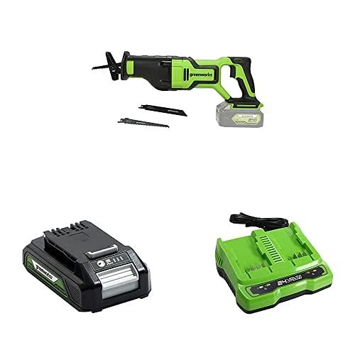 Greenworks 24V Akku-Säbelsäge GD24RS + Akku G24B2 (Packung mit 2) + Tools Doppelsteckplatz-Akku-Universalladegerät G24X2UC2