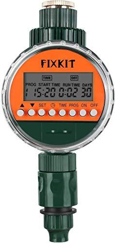 FIXKIT Neue Bewässerungscomputer, Digitaler Wassertimer, Bewässerungsuhr IP68 Wasserdichter LCD Bildschirm,...