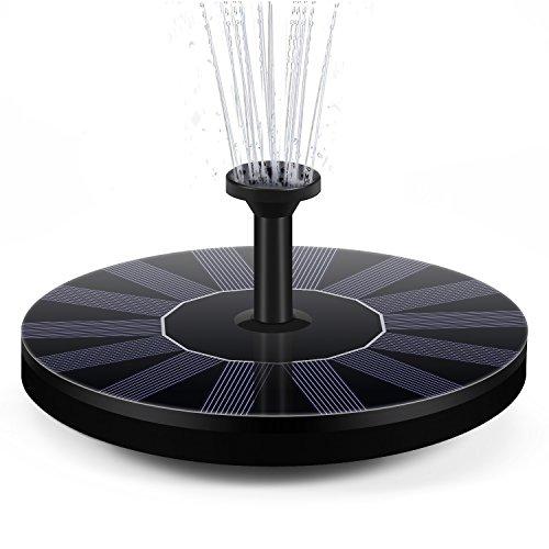Solar Springbrunnen Pumpe, DISDIM solarbetrieben Wasser Brunnen Panel 1.4 W 4 verschiedenen Spray Köpfe,Outdoor Bewässerung Tauchpumpe für Vogel Bad,Teich, Aquarium, Garten Dekoration