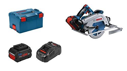 Bosch Professional BITURBO Akku Handkreissäge GKS 18V-68 GC (kompatibel mit Führungsschienen, inkl. 2x ProCORE 5.5 Ah Akku, Ladegerät GAL 1880 CV, 1x Sägeblatt, Parallelanschlag, in L-BOXX 238), blue
