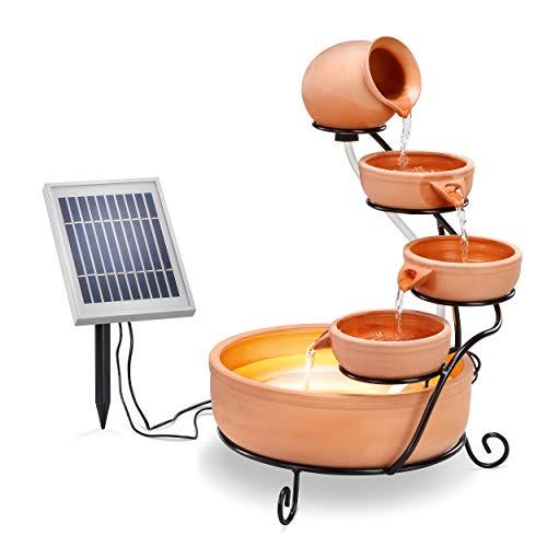 Solar Kaskadenbrunnen Terrakotta mit Akkuspeicher und LED Licht - großes 2 Watt Solarmodul - verschleißarme...