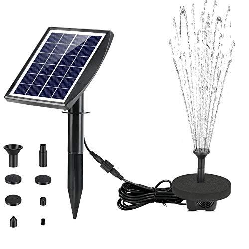 Fostoy Solar Springbrunnen Pumpe, 2W Solar Teichpumpe mit 5 Düsen, Solar Waaserpumpe mit Solarmodul 180 L/H Förderleistung für Garten/Teich/Fontänen/Vogel- Bad