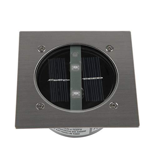 Ranex 5000.198 LED Solar Bodeneinbaustrahler, 4-eckig, Silber