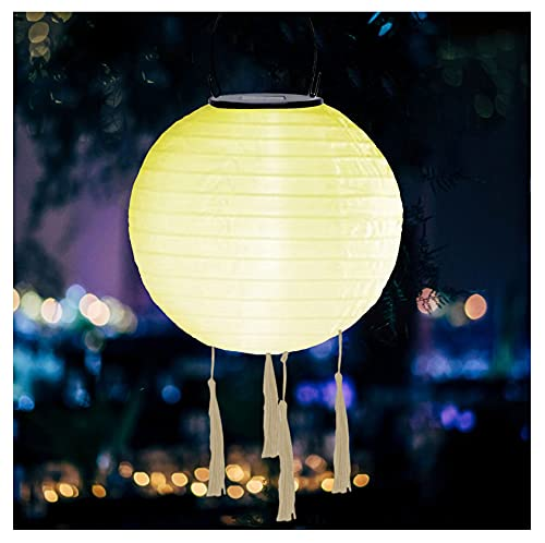Lampion LED Solar Laternen für außen, IP55 Wasserdicht Hängende Garten Laterne, Rund Ballform Lampenschirm, Solarlaterne für Hochtzeit Kirche Garten Dekoration, Cloroful Lantern for inside & outside