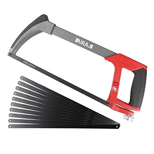 AIRAJ Metallsäge 300mm,Hand-Bügelsäge mit 10 Austauschbarer Klinge,45°/90° Bügel-Säge für...