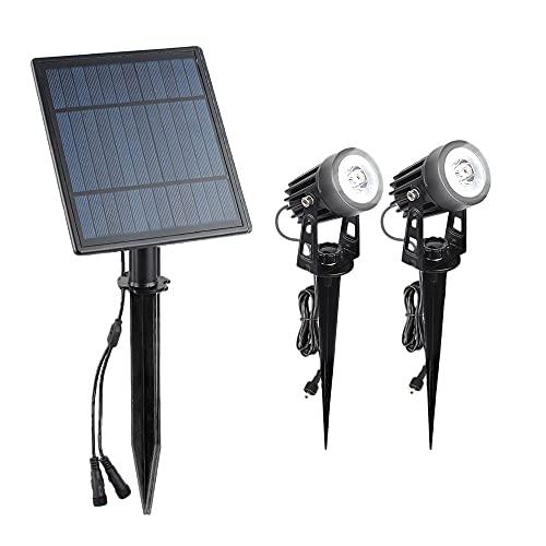 Wivarra Solarstrahler Solarbetriebene 6W Einstellbare Solarpfadleuchten im Freien Wasserdichte Hoflampe Weii