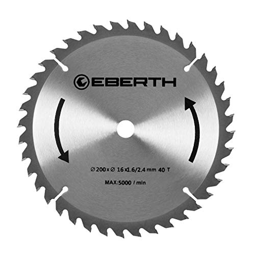 EBERTH Hartmetall-Kreissägeblatt für Holzschnitte (200 x 2,4 x 16 mm, 40 Zähne, lange Lebensdauer)
