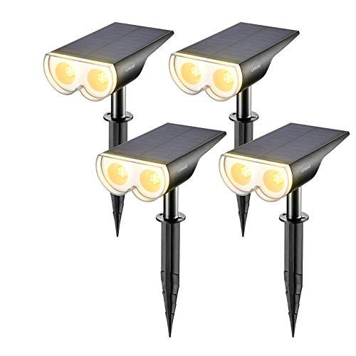 Linkind LED Solar Gartenlampen, Licht-Sensorik Solarleuchte, 3000K Warmweiß Solarlicht, IP67 Wasserdicht Außenwandleuchte 650lm, Wiederaufladbar Solarstrahler 4er Pack