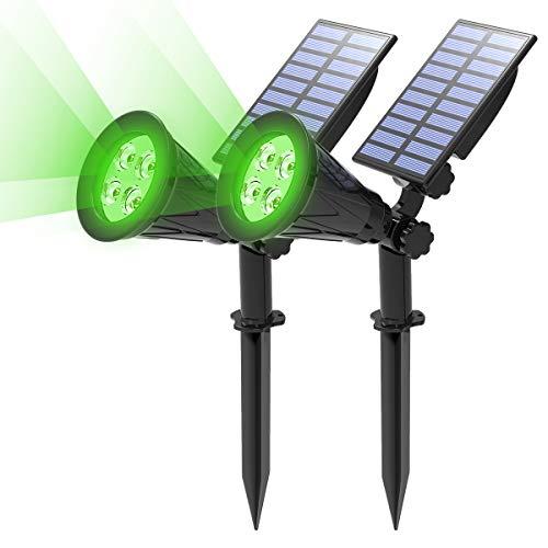Gartenstrahler Solar, T-SUN 2 Stück 4 LED Garten Solarlampe Solarleuchten, Helle Garten-Licht, 2 Beleuchtungsmodi, Sicherheitsbeleuchtung,Großes Außenlicht für Rasen, Wege, Auffahrt, Terrasse (Grün)