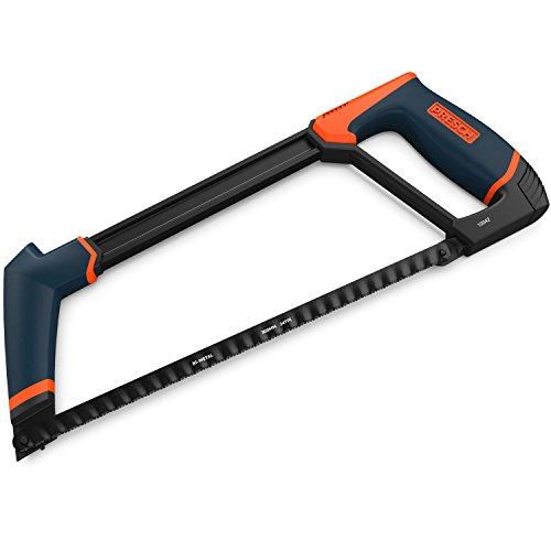 Presch Metallsäge 300mm lang - Bügel-Säge für Metall, Aluminium und Plastik - Sägeblatt wechselbar auf 45° - Profi Handsäge, Bügelsäge