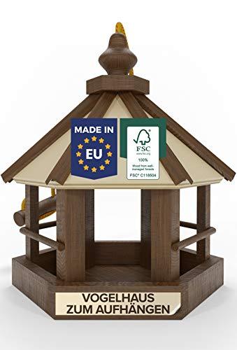 Natureflow Vogelhaus zum Aufhängen Holz - Wetterfestes Vogelfutterhaus aus FSC Holz - EU-Premium Qualität - Ideal für Garten und Balkon - Mit robustem Seil - Schönes 25x32x34cm Futterhaus für Vögel