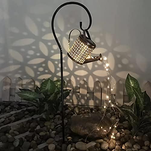 Hohl Wasserfall Licht Sternform Baden Metall Solar blinkende Gießkanne Sprinkler Leprechaun Licht LED Garten Art Deco Licht (Hohlstern Gießkanne + Halterung)