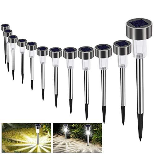 Solarleuchte Solar Gartenleuchte LED Wegleuchte Solarlampe 12 Stück Energiesparend IP65 Wasserdicht Edelstahl Ideal für Terrasse, Rasen, Garten Hofwege und Wege