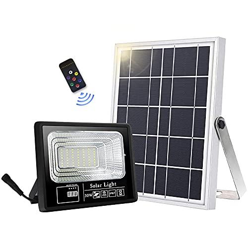 Solar Strahler Solarlampe Außen 49 LED für Hohe Helligkeit 6000mAh Batterie Solarpanel Licht Gesteuert IP67 Wasserdicht Solarbetriebene Außenleuchte für Garten [Energieklasse A+++]