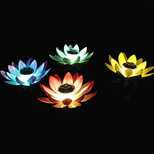 Aimiyaelec Teichbeleuchtung Solar LED Seerose Blüte Teichlampe Solarbeleuchtung für Gartendeko Teich Aquarium Deko Gartenteich Dekoration (Weiß)
