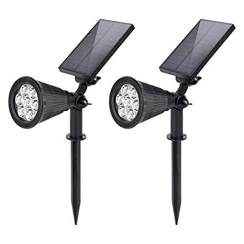 SALCAR Solarleuchte Garten, 7 LED Solarstrahler für Außen, 2 Helligkeitsstufen, IP65 Wasserdichte Solar Gartenlampe für Außen Wege Rasen (2 Stück)
