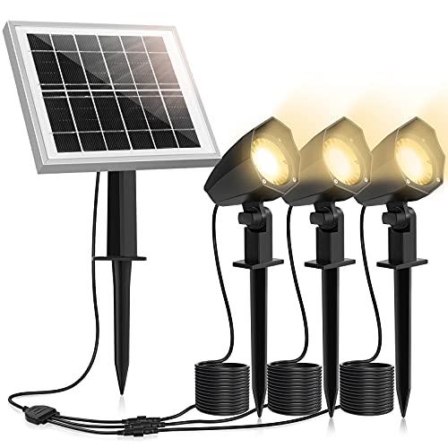 MEIHUA Solar Strahler 3 Stück Solar Gartenleuchte IP66 wasserdichte, Solarlampen für außen, mit Erdspieß, für Gärten, Sträucher und Bäume Warmweiß