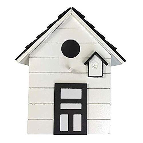 CasaJame Holz Vogelhaus für Balkon und Garten, Nistkasten, Haus für Vögel, Vogelhäuschen, Weiß als Deko, 20 x 17 x 12cm