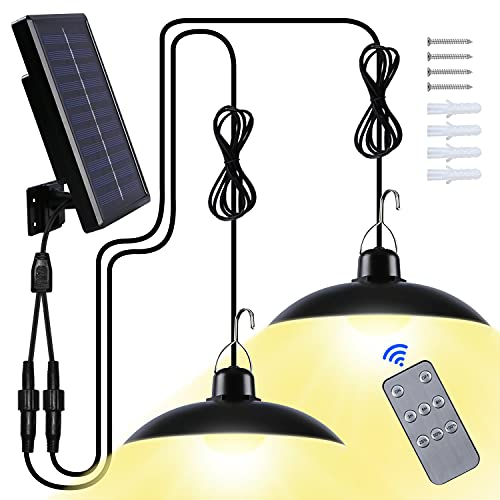 Solar Hängelampe für Außen, Solarlampen für Außen IP65 Wasserdicht 120 ° Verstellbarem Solarpanel mit Fernbedienun/Tragbare für Garten/Garage/Balkon/Terrasse(Warmweiß)