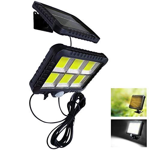 VARICART Solar 12W 120 LED Teilbare Wandlampe, Wasserdicht Aussen Zweigeteiltes Kabelloses Panel mit Sicherheit PIR Bewegungsmelder, 3 Beleuchtungsmodi für Garten Garage Keller Schuppen (1-er Packung)